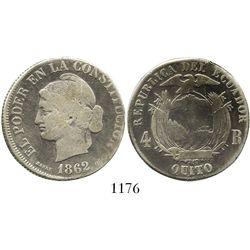 Quito, Ecuador, 4 reales, 1862. KM-41. 12.6 grams. Off-center Fine with bold details, good contrast