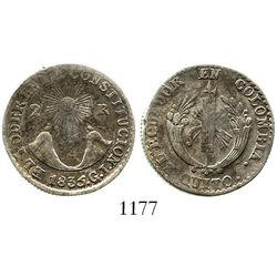 Quito, Ecuador, 2 reales, 1835GJ. KM-14. 6.1 grams. AVF with a few old marks, parts of rim weak, muc