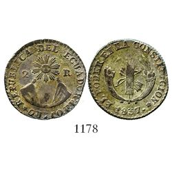 Quito, Ecuador, 2 reales, 1837FP. KM-21. 4.6 grams. New type with legends beginning on mountains sid