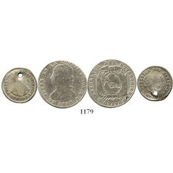 Lot of 2 Quito, Ecuador, silver minors: 2R 1848/7GJ and 1R 1836GJ. KM-33 and 17. 9.4 grams total. Bo