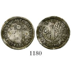Quito, Ecuador, 1 real, 1833GJ. KM-13. 2.2 grams. Broad-flan Fine+ with much toning, a few old marks