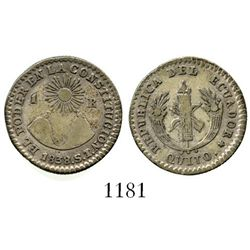 Quito, Ecuador, 1 real, 1838ST. KM-17. 3.2 grams. Attractive VF with hint of luster, lightly toned a