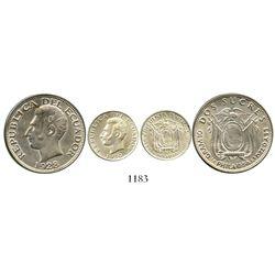 Lot of 2 Ecuador (struck at Philadelphia) silver coins: 2 sucres 1928 and 50 centavos 1930. KM-73 an