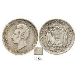Ecuador (struck in England), 1 sucre, 1889-HEATON / BIRMINGHAM, with possible (unidentified) counter