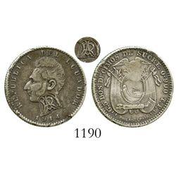 Ecuador (struck at Philadelphia), 2 decimos, 1914TF-PHILADELPHIA, with monogrammed-RA countermark (G
