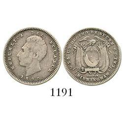 Ecuador (struck in England), 1 decimo, 1890-HEATON / BIRMINGHAM. KM-50.1. 2.4 grams. Nicely toned AV