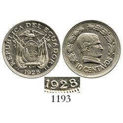 Ecuador, nickel 10 centavos, 1928, doubled-die date. KM-70. 4.0 grams. Lustrous AU, one-year type, r