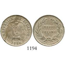 Ecuador (struck in England), copper-nickel 1/2 decimo, 1886-HEATON-BIRMINGHAM. KM-49. 6.4 grams. Lig