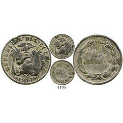 Ecuador, copper-nickel 5 centavos, 1917, with large-S countermark (unidentified). KM-60.2. 2.7 grams
