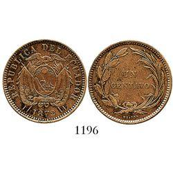 Ecuador (struck in England), copper 1 centavo, 1872-HEATON. KM-45. 5.8 grams. AXF with much original