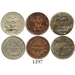 Lot of 3 Ecuador (struck in England) copper-nickel 1c (1884 and 1886 HEATON - BIRMINGHAM, 1909-H). K