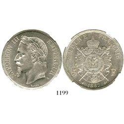 France (Paris mint), 5 francs, 1867-A, encapsulated NGC AU 55. KM-799.1.  Bold and brightly lustrous