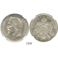 France (Paris mint), 5 francs, 1868-A, encapsulated NGC AU 55. KM-799.1.  Fully lustrous UNC that wa