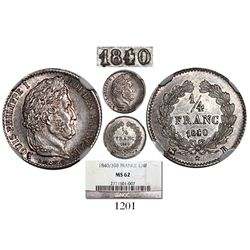 France (Rouen mint), 1/4 franc, 1840/39-B, encapsulated NGC MS 62, extremely rare overdate. KM-740.2