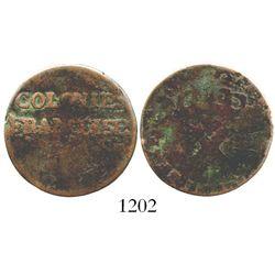 French Colonies (Louisiana), copper sou (9 deniers), (1721-2), mint uncertain (Rouen or La Rochelle)