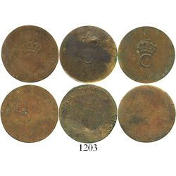 Lot of 3 French colonial copper stampees, large crowned C (1779). KM-2. 4.8 grams. The countermarks