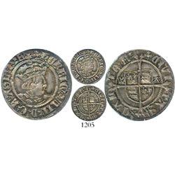 England (Canterbury mint), half groat, Henry VIII (1509-47), W-A flanking shield (Archbishop Warham)
