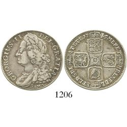 London, England, shilling, 1745, with LIMA below bust of George II. Spink-3703; KM-583.2. 6.0 grams.