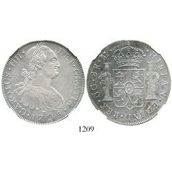 Guatemala, bust 8 reales, Charles IV, 1795/4M, rare overdate, encapsulated NGC AU 50. KM-53; CT-624.