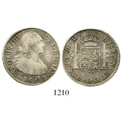 Guatemala, bust 2 reales, Charles IV, 1801M. KM-51; CT-924. 6.4 grams. Lustrous and lightly toned VF