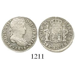 Guatemala, bust 1 real, Ferdinand VII, 1818M. KM-66; CT-1121. 3.4 grams. Choice Mint State, highly l