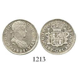 Guatemala, bust 1 real, Ferdinand VII, 1821M. KM-66; CT-1124. 3.4 grams. Choice Mint State, lustrous