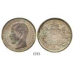 Guatemala, 1 peso, 1871R, Carrera. KM-190.1. 24.9 grams. Toned XF, problem-free except for very slig