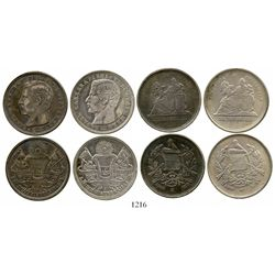 Lot of 4 Guatemala 4R, various dates and types (1863R, 1865R, 1873P and 1879D). KM-140 and 150. 49.1