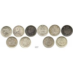 Lot of 5 Guatemala 2R, various dates and types (1868R, 1873P, 1879D, 1895 and 1897). KM-142, 149, 15