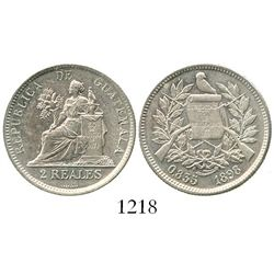 Guatemala, 2 reales, 1898. KM-167. 6.1 grams. Lustrous Mint State, no toning, choice for the issue.