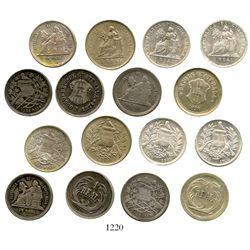 Lot of 8 Guatemala 1R of 1874-1912 (the last one copper-nickel). KM-148.1, 148.2, 153a.1, 153a.2, 17