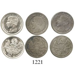 Lot of 3 Guatemala 1/2R under Carrera (1860R, 1861R and 1867R). KM-131, and 143. 4.5 grams total. Th