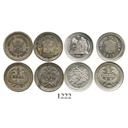 Lot of 4 Guatemala 1/2R (1873, 1878 and 1879 x 2). KM-147, 147a.1, 147a.2 and 152. 6.2 grams total.