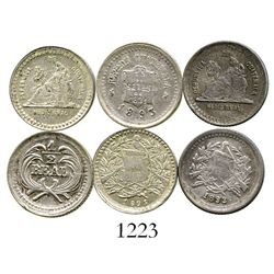 Lot of 3 Guatemala 1/2R of 1893 (three different varieties). KM-147a.2, 163 and 164. 4.4 grams total