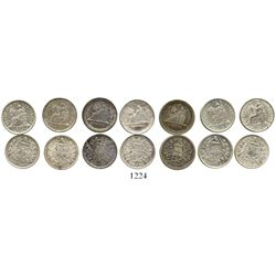 Lot of 7 Guatemala 1/2R of 1883-1899, various minor varieties of two different types. KM-155.1 and 1