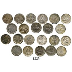 Lot of 11 Guatemala 1/4R, 1873-1899. KM-146, 146a.2, 151, 158, 159 and 162. 8.3 grams total. AU on a