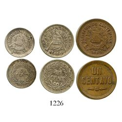 Lot of 3 Guatemala minors of 1881: 10 centavos, 5 centavos and copper 1 centavo. KM-204, 203 and 202