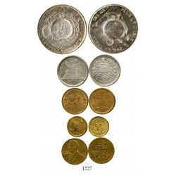 Lot of 5 Guatemala coins: 1 peso (1894 counterstamp on Peru 1 sol of 1870); 25 centavos, 1882; bronz