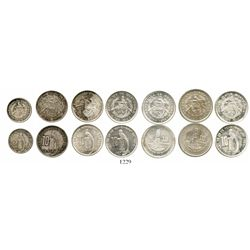 Lot of 7 Guatemala silver minors from the quetzal series (10c 1924 x 3, 1943, 1949, 1952; 5c 1924).