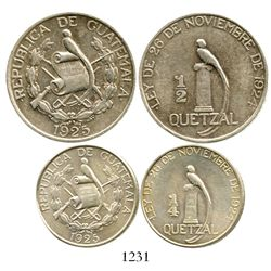 Lot of 2 Guatemala silver coins of 1925: 1/2 quetzal and 1/4 quetzal. KM-241.2 and 240.1. 24.9 grams