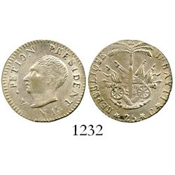 Haiti, 25 centimes, AN14 (1817), Petion. KM-15.2. 2.1 grams. Nice UNC, mostly lustrous, slightly wea