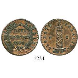 Haiti, copper 2 centimes, 1830 // AN27, rare grade. KM-A22. 6.4 grams. Exceptional strike with bold