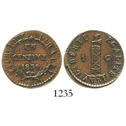 Haiti, copper 1 centime, 1834 // AN31, rare grade. KM-A21. 3.1 grams. Chocolate-brown XF with crude