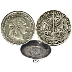 """Haiti, 1 gourde, 1882, made into a silver ashtray. KM-46. 54.6 grams total, 3-1/2"""" in diameter. Well"""