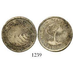 Tegucigalpa, Honduras (Central American Republic), 2 reales, 1831F. KM-9.3. 7.8 grams. Lustrous AU,