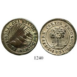Tegucigalpa, Honduras (provisional), 4 reales, 1851G. KM-20a. 7.3 grams. Choice strike for this usua