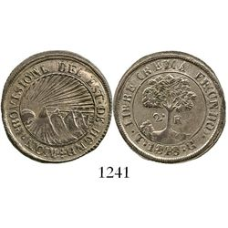 Tegucigalpa, Honduras (provisional), 2 reales, 1848G. KM-19b. 4.6 grams. Lustrous and lightly toned