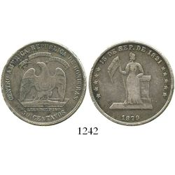 Honduras, 50 centavos, 1879, Lovett type. KM-44. 12.3 grams. Deeply old-toned Fine with minor rim-di