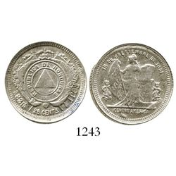Honduras, 25 centavos, 1902/1, F in wreath above fineness. KM-50a. 6.3 grams. Lustrous AU (rare grad
