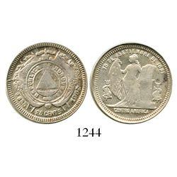 Honduras, 25 centavos, 1907/4. KM-50a. 6.1 grams. Choice XF for type (very rare grade, far superior